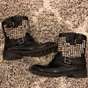 Ash black moto boots